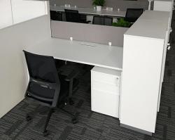 时尚式办公桌组合乳白色更显活力