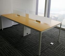 圆柱钢脚四人面对面开放式办公桌组合