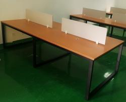 棕红色办公桌组合黑色方通钢架定制