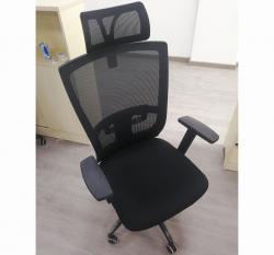 黑色网布职员椅优质海绵坐垫带头靠
