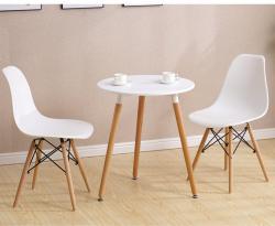 北欧风格洽板式白色圆形洽谈桌