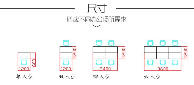 办公卡位产品尺寸平面图
