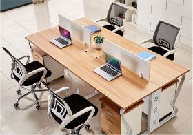蝴蝶钢架开放式四人位屏风办公桌